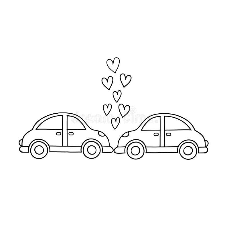 Automobili nel bacio Incidenti e coppie Gli uomini e le donne entrano in un incidente e trovano i grafici di amore-vettore illustrazione vettoriale