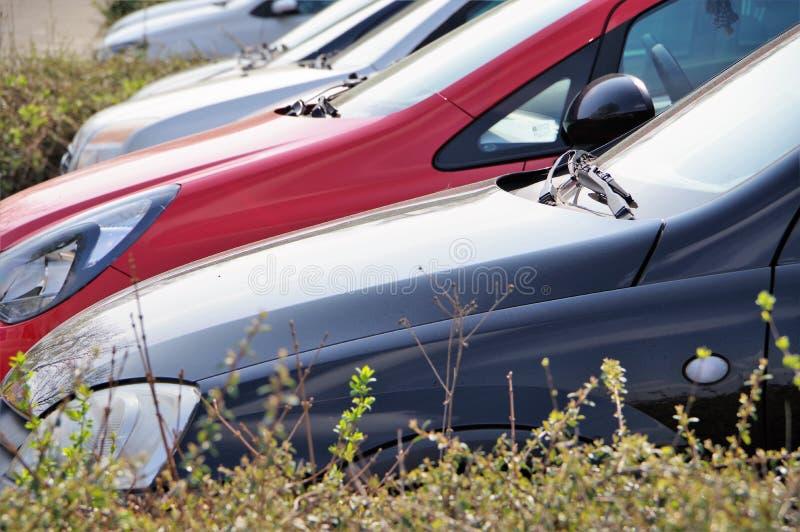 Automobili parcheggiate in una riga immagine stock