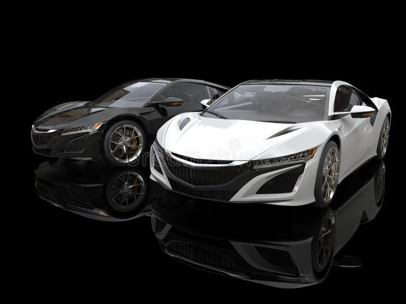 Automobili sportive eccellenti bianche e nere parallelamente in una sala d'esposizione nera royalty illustrazione gratis