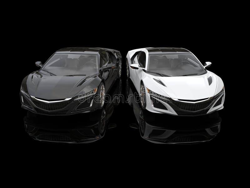 Automobili sportive eccellenti in bianco e nero parallelamente in una sala d'esposizione nera royalty illustrazione gratis