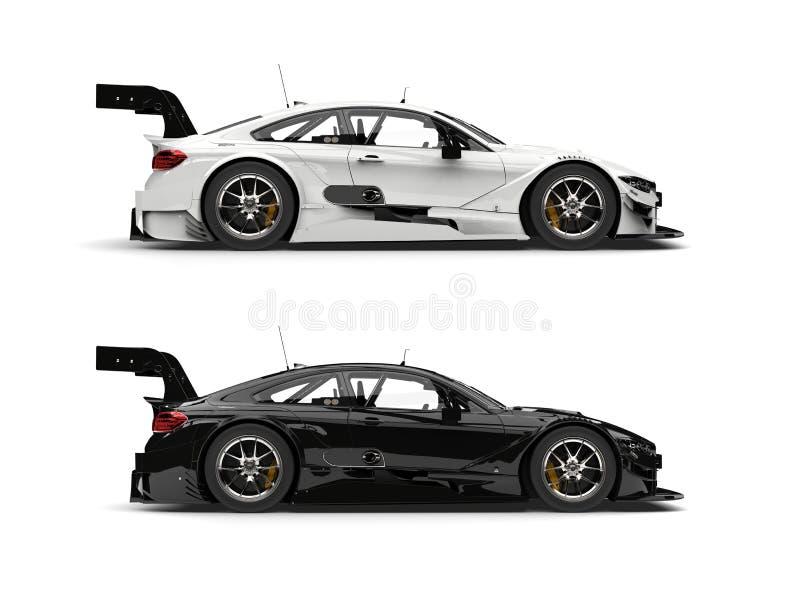 Automobili sportive eccellenti in bianco e nero - vista laterale illustrazione vettoriale
