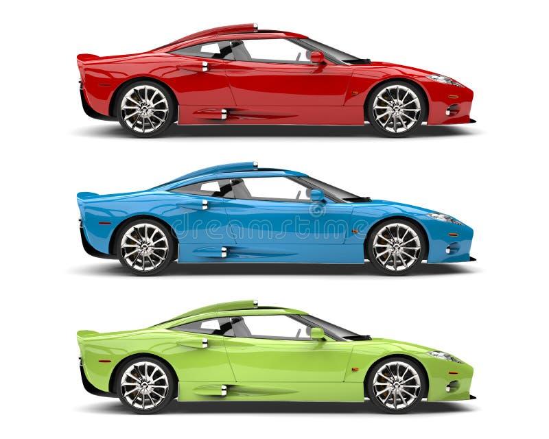 Automobili sportive eccellenti verdi e blu impressionanti di rosso, - vista laterale royalty illustrazione gratis