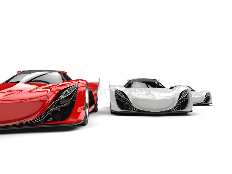 Automobili sportive futuristiche bianche cremisi e di rosso di concetto - tagli il colpo royalty illustrazione gratis