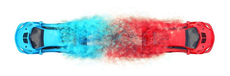 Automobili sportive moderne rosse e blu - effetto della particella illustrazione vettoriale