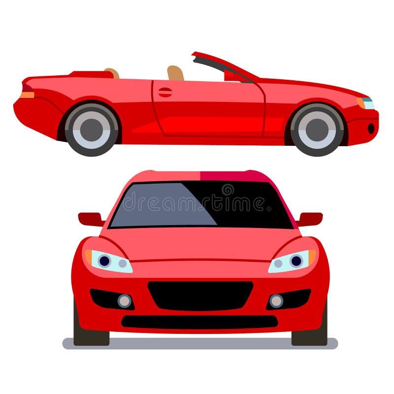 Automobili stile piana di vettore nelle viste differenti Cabriolet rosso illustrazione di stock
