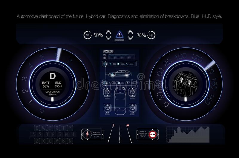 Automobilowa deska rozdzielcza przyszłość Hybrydowy samochód Diagnostycy i eliminacja awarie błękitny Hud styl niebieski obraz ni ilustracji