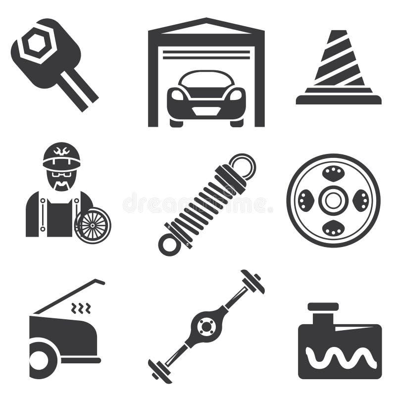 Automobilowe ikony ilustracja wektor