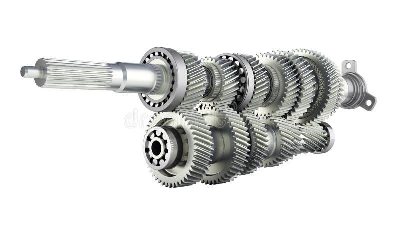 Automobilowe przekazu gearbox przekładnie na wśrodku białego tła 3d odpłacają się bez cienia ilustracji