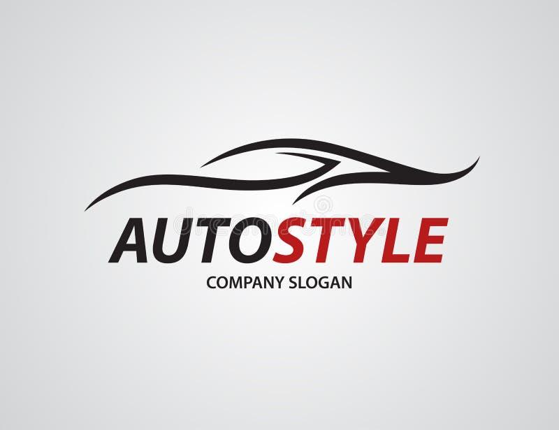 Automobilowy samochodowy loga projekt z abstraktem bawi się pojazd sylwetkę ilustracji