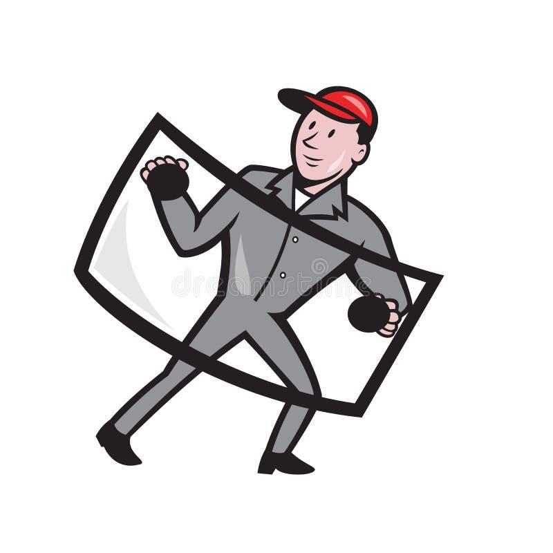 Automobilowy Szklany Installer przód Odizolowywający ilustracja wektor