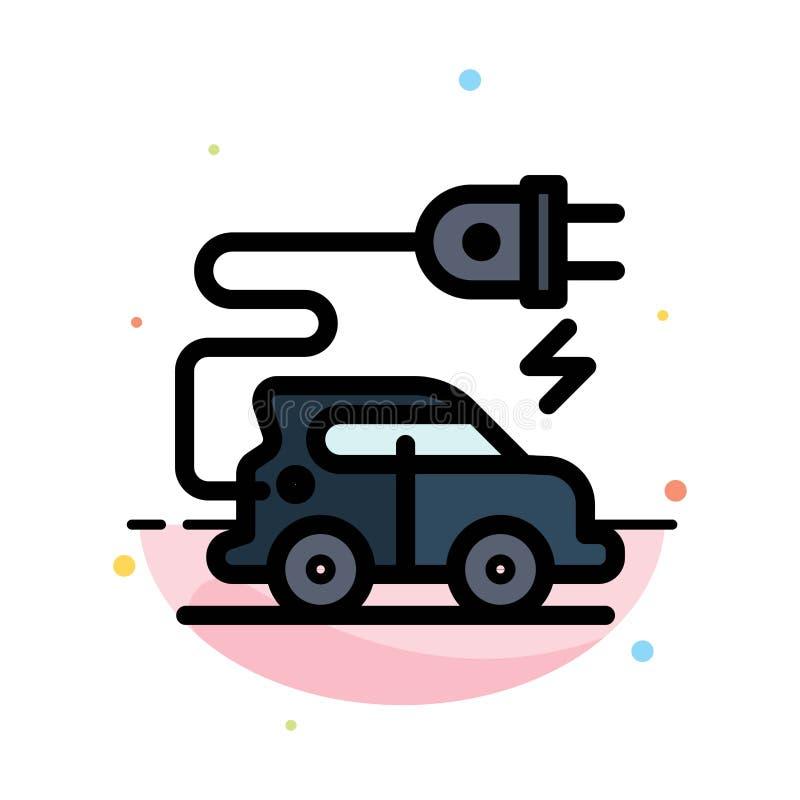 Automobiltechnik, Elektroauto, Elektro-Mobil-Zusammenfassungs-flache Farbikonen-Schablone vektor abbildung