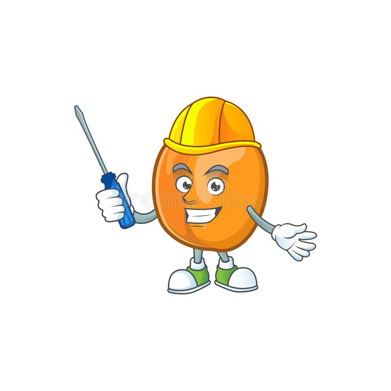 Automotive apricot fruit in the cartoon shape. Vector illustration royalty free illustration