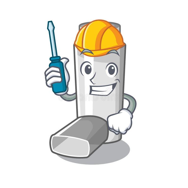 Automotive asthma inhaler in the character bag. Vector illustration stock illustration