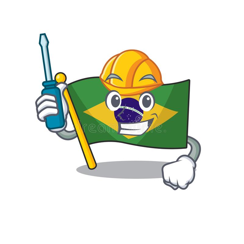 Automotive brazil flag kept in mascot drawer. Illustration vector stock illustration