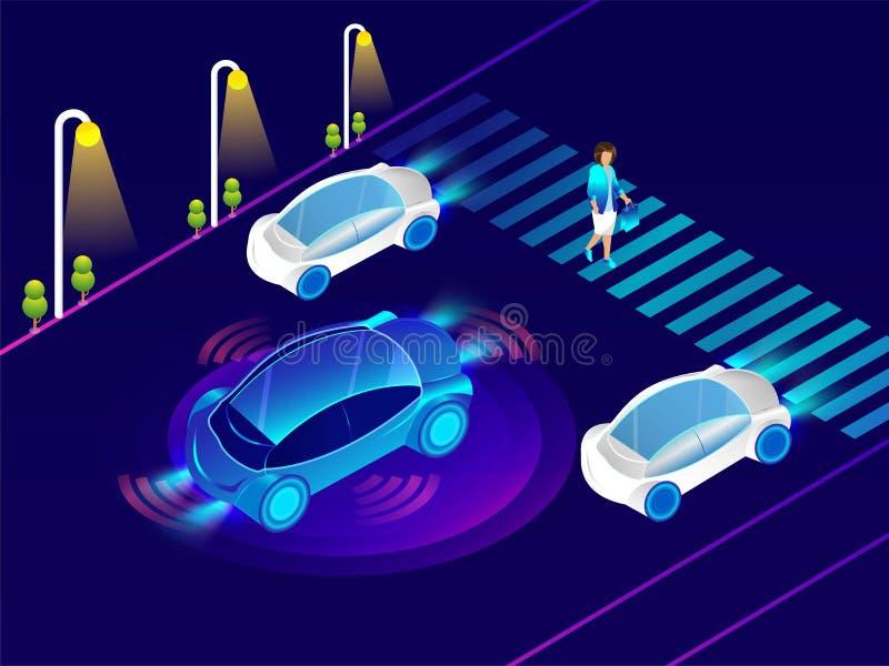 Automotive car with sensor technology on urban landscape for Autonomous Vehicle Remote Sensing System concept. stock illustration