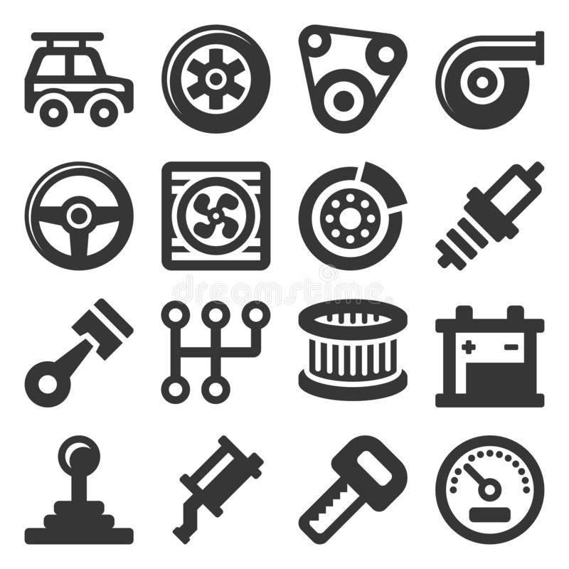 Automotive Car Service Icons Set on White Background. Vector. Illustration royalty free illustration