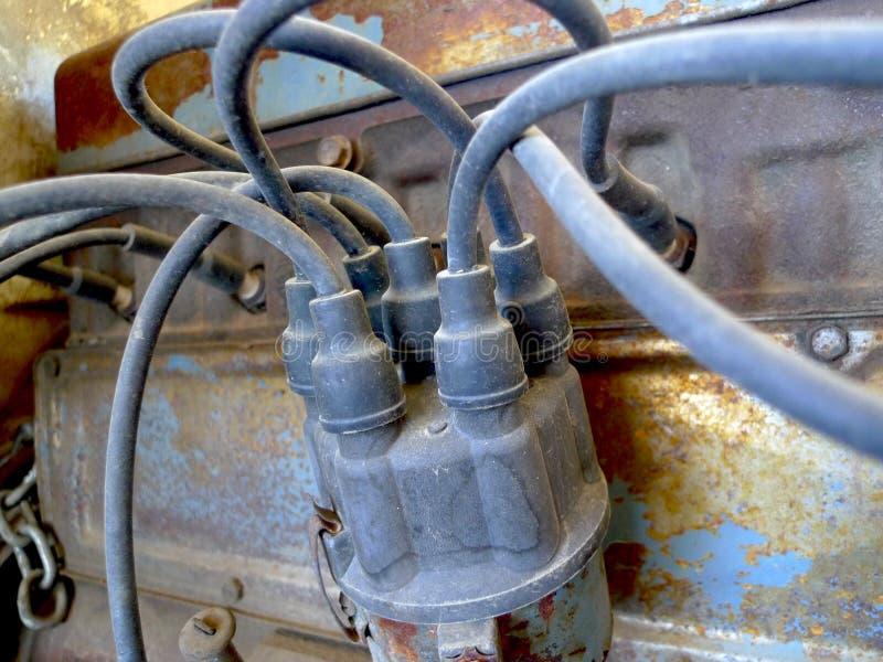 Automotive Distributor cap, ignition parts, antique royalty free stock photos