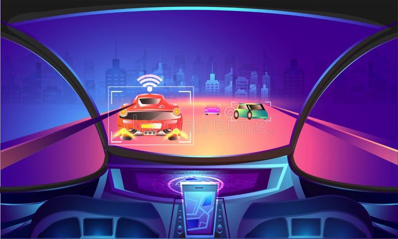 Automotive empty cockpit with sensor technology on night view ur. Ban city background stock illustration