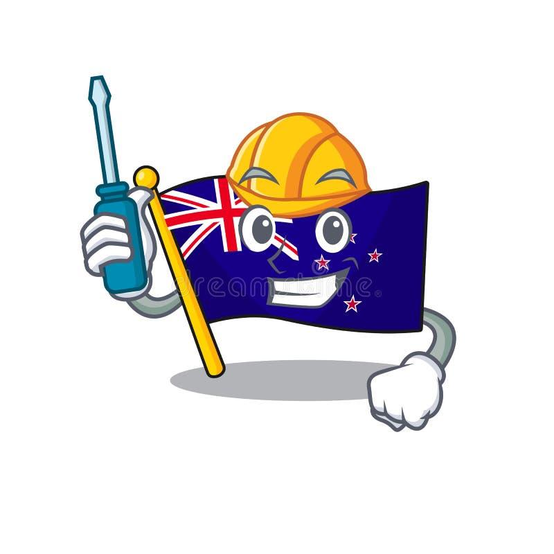 Automotive flag new zealand in cartoon drawer. Vector illustration vector illustration
