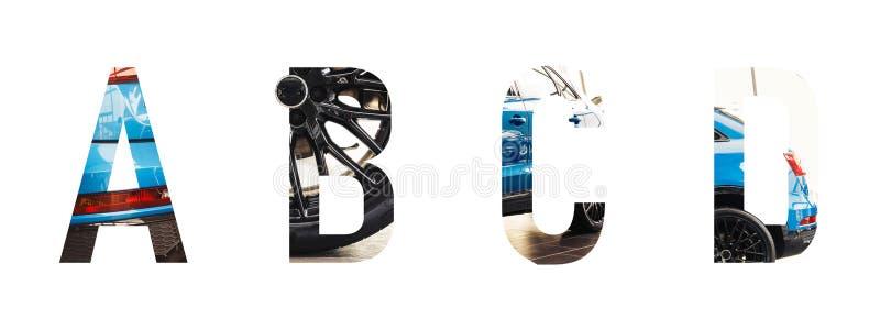 Automotive font Alphabet a, b, c, d royalty free stock photo