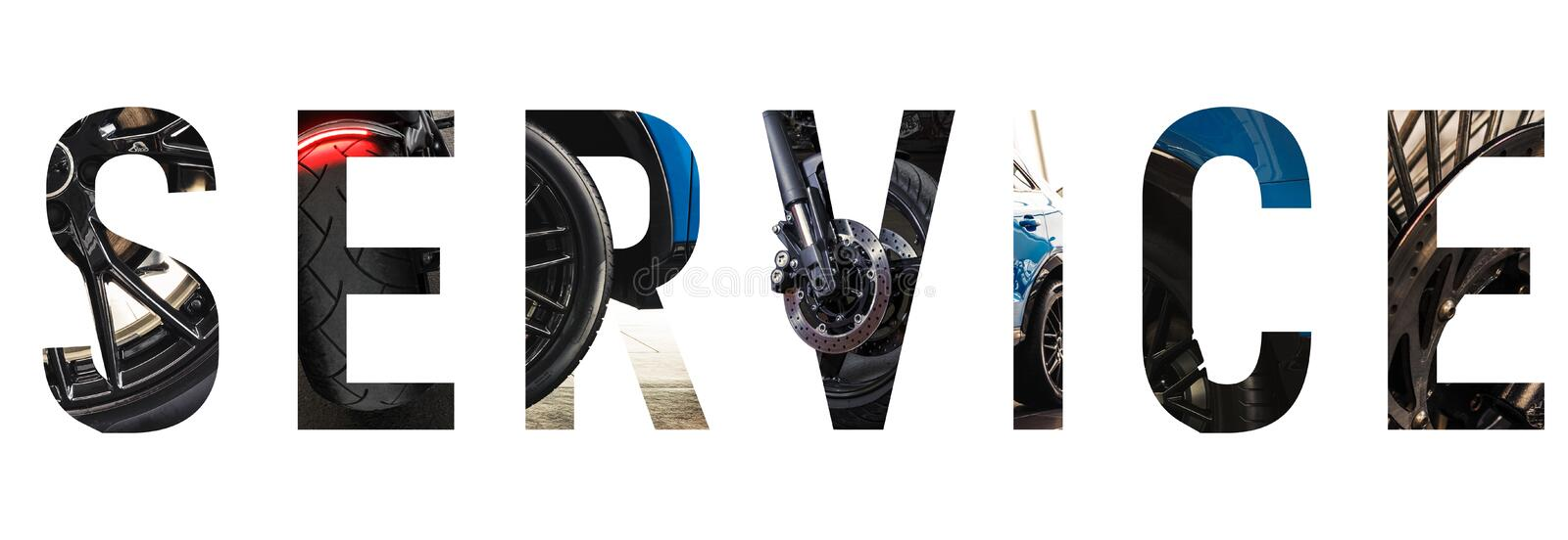 Automotive font Alphabet wording SERVICE royalty free illustration