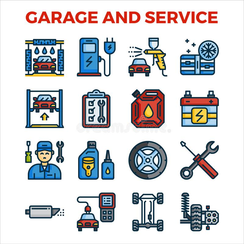 Automotive garage and service outline color icon collection. pixel perfect alignment icon. Vector illustration royalty free illustration