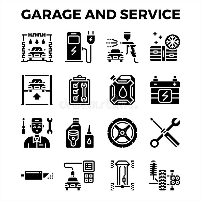 Automotive garage and service solid icon collection. pixel perfect alignment icon. Vector illustration vector illustration