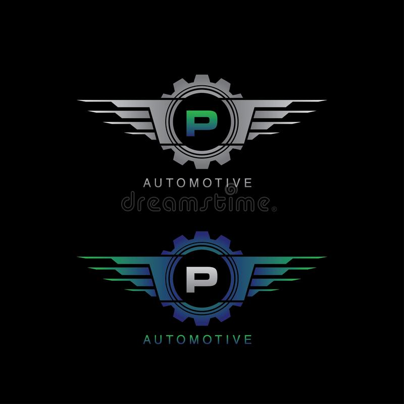 Automotive Gear Wing J Letter Logo Stock Illustration
