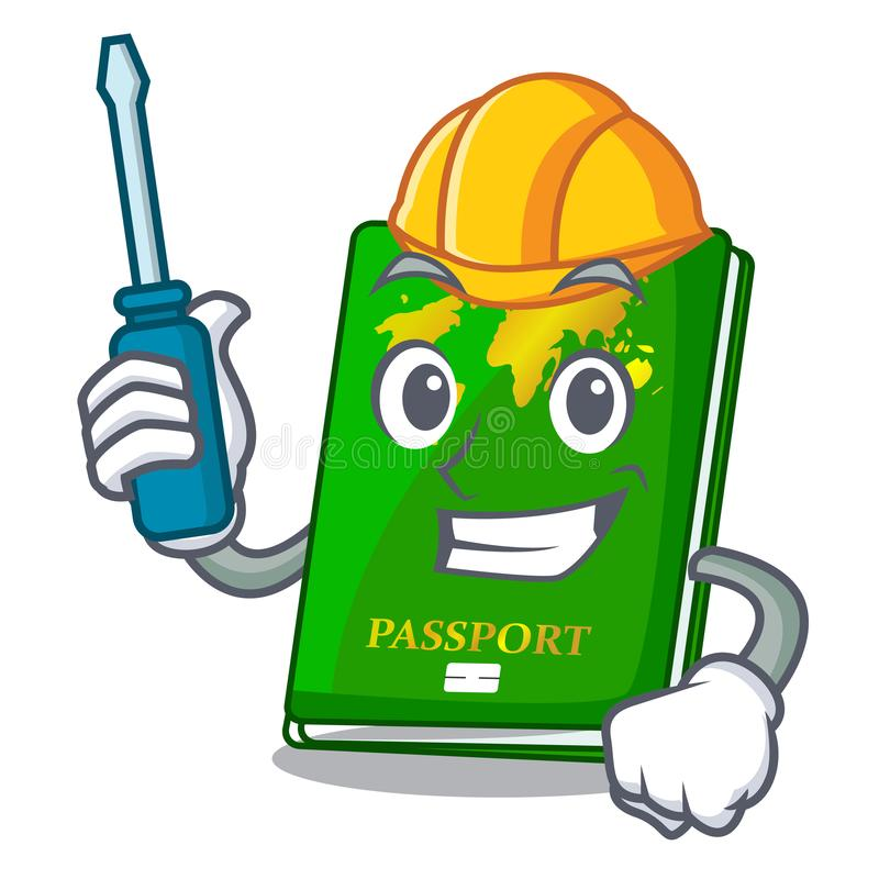Automotive green passport on the mascot table. Vector illustration stock illustration