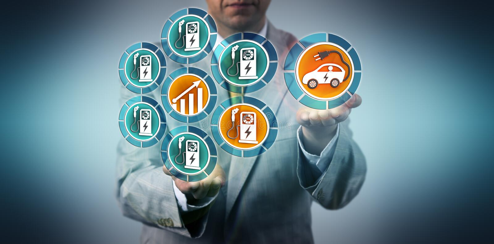 Manager Projecting Growth For EV Charging Ports royalty free stock photography