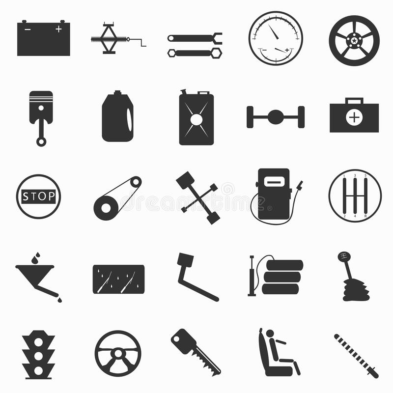 Automotive paraphernalia symbols vector illustration royalty free illustration