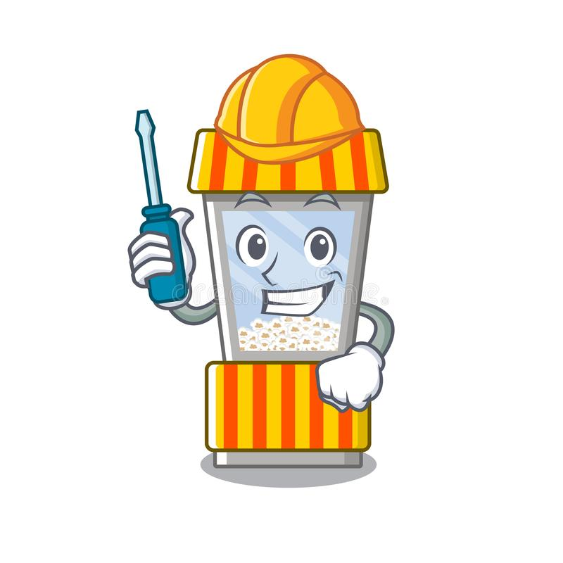 Automotive popcorn vending machine in mascot shape. Vector illustration stock illustration