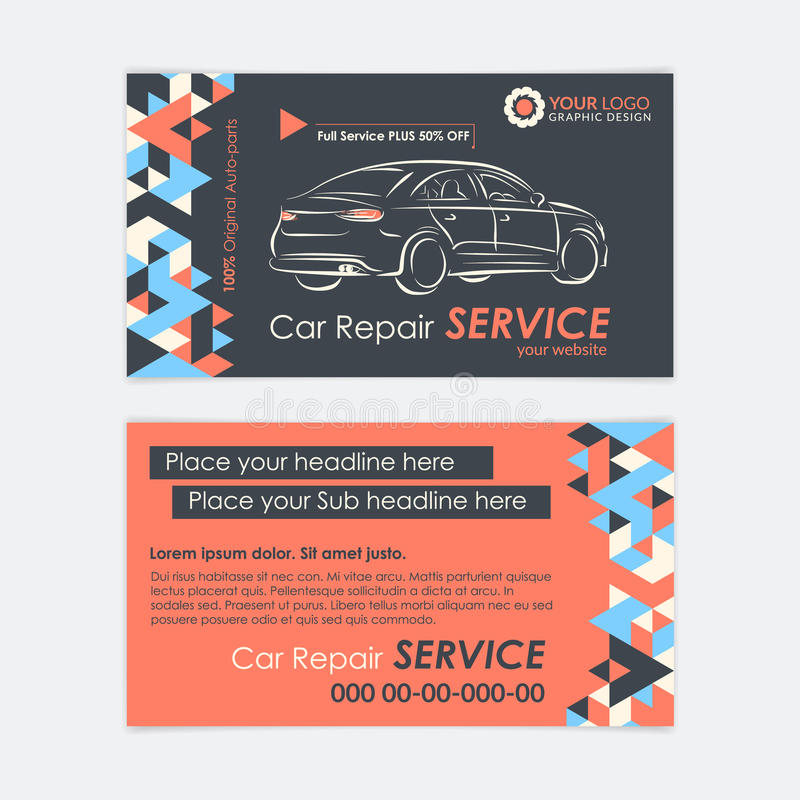 Automotive Service business card template. Car diagnostics and transport repair. Create your own business cards. stock illustration