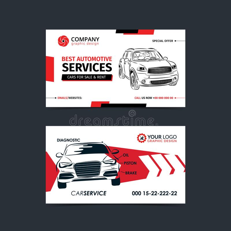 Automotive Service business cards layout templates. Create your own business cards. vector illustration