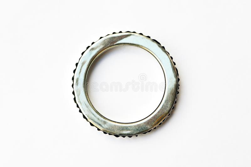 Automotive steel gasket for the. Exhaust system isolated on white background stock photography