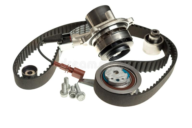 Automotive water pump repair kit timing belt tensioners parts stock photos