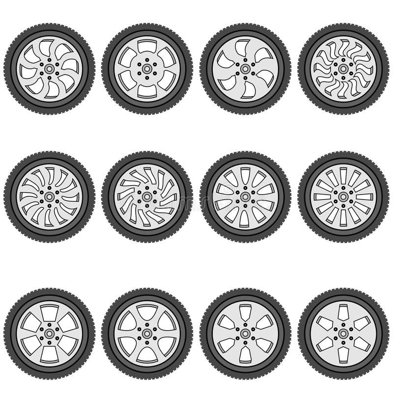 Download Automotive Wheel With Alloy Wheels Stock Vector - Image: 29298817