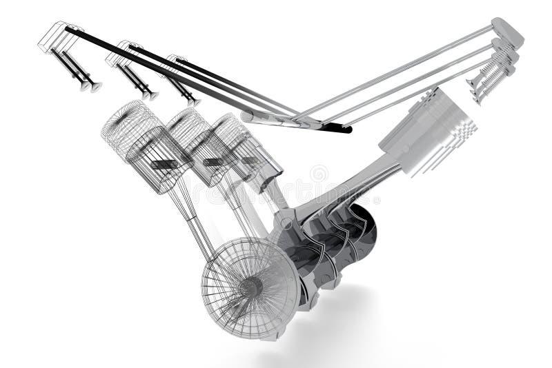Automotor des Sechszylinders 3D - Körper- und wireframemodell, weißer Hintergrund lizenzfreie abbildung