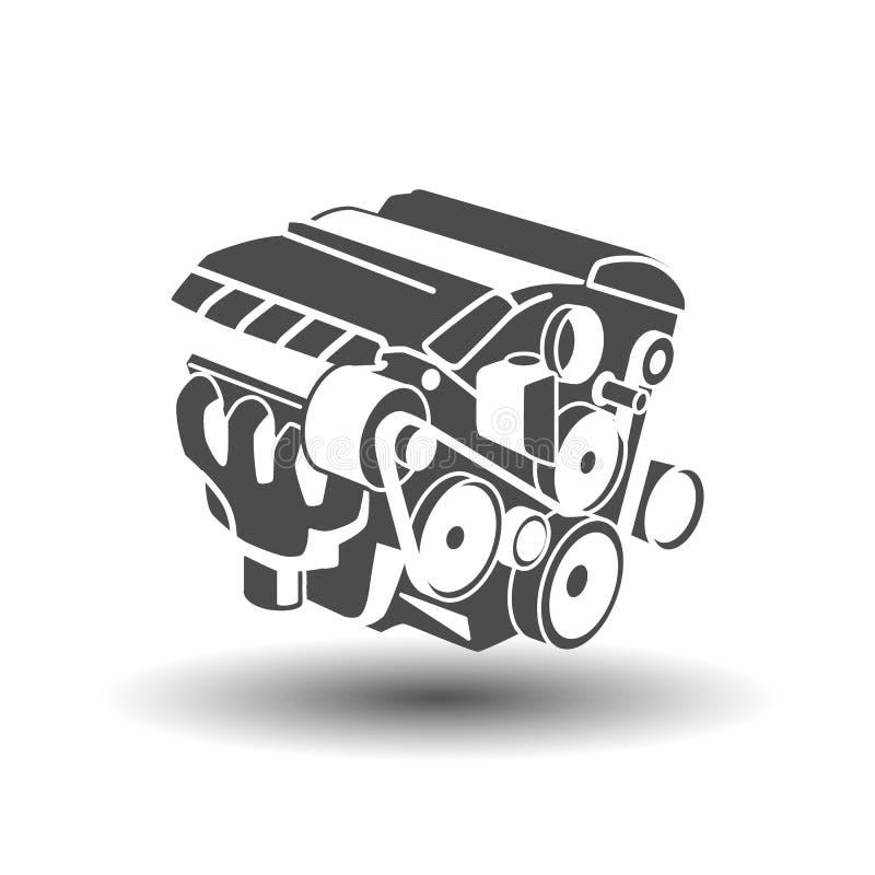 Automotor Glyphikone motor Schattenbildsymbol Negativer Platz Vektor lokalisierte Illustration lizenzfreie abbildung