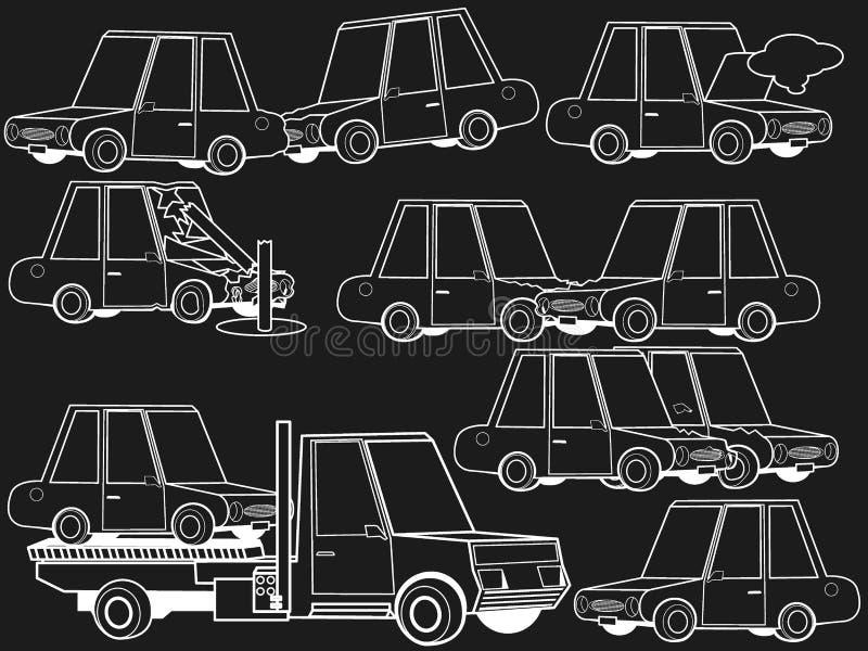 Autoneerstorting en de lijn van het de structuurkrijt van het autoongeval vector illustratie