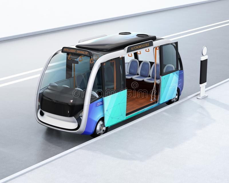 Autonom anslutningsbuss som väntar på bussstationen stock illustrationer