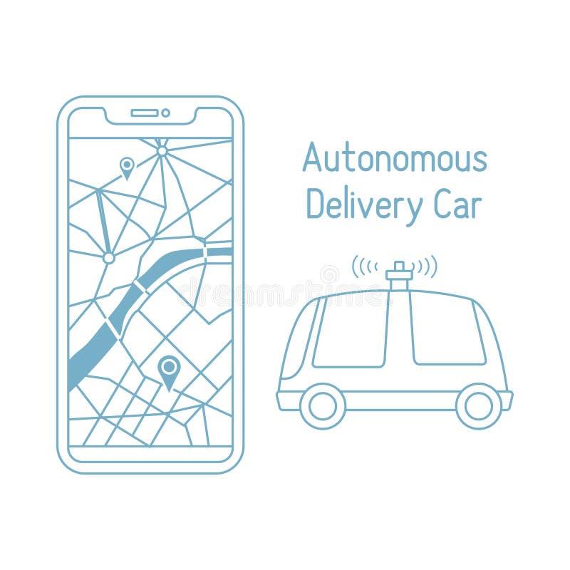 Autonom fj?rrkontroll f?r navigering f?r leveransbil stock illustrationer