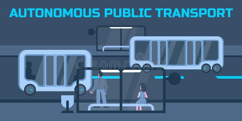 Autonom kollektivtrafik royaltyfri illustrationer