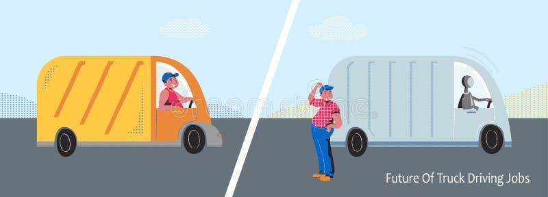 Autonom lastbil vs lastbilsförarevektorbegrepp royaltyfri foto