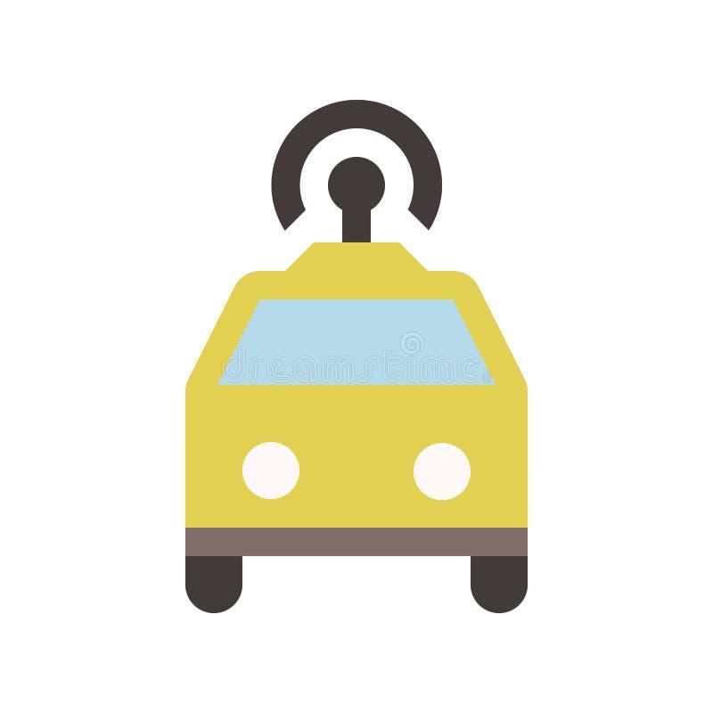 Autonom taxi - taxi - plan kulör symbol - guling vektor illustrationer