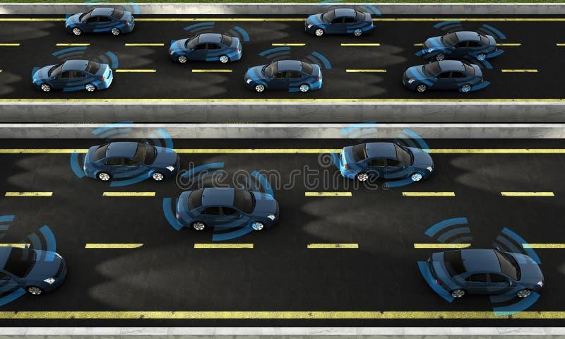 Autonoma bilar på en väg med synlig anslutning arkivfoto