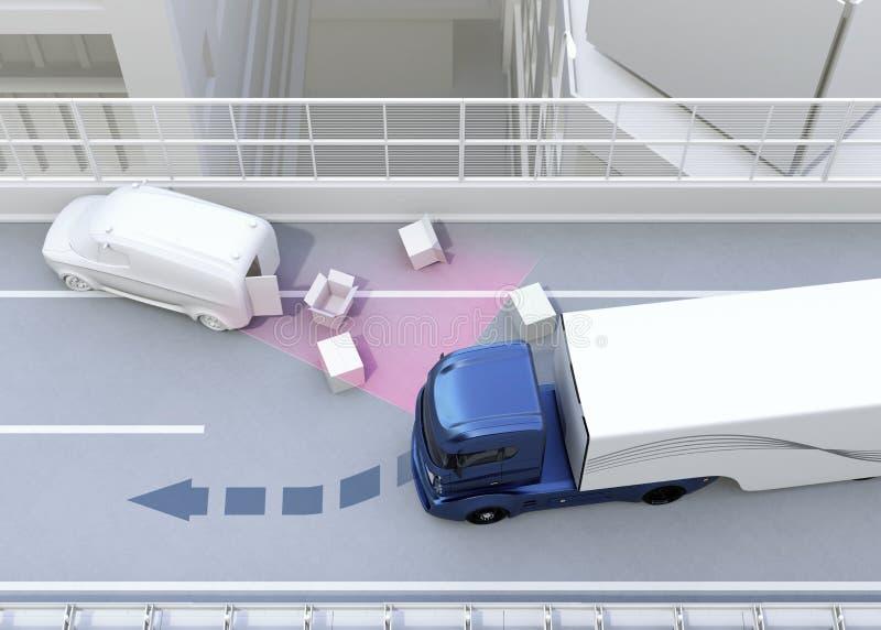 Autonome auto veranderende steeg snel om een verkeersongeval te vermijden royalty-vrije illustratie