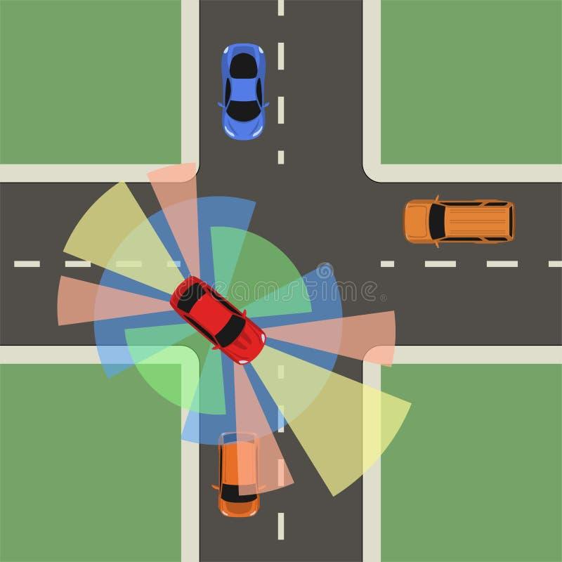 Autonome Autodachansicht Selbst, der Fahrzeug fährt stock abbildung