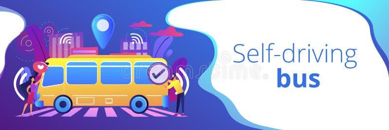 Autonome de bannerkopbal van het openbaar vervoerconcept royalty-vrije illustratie