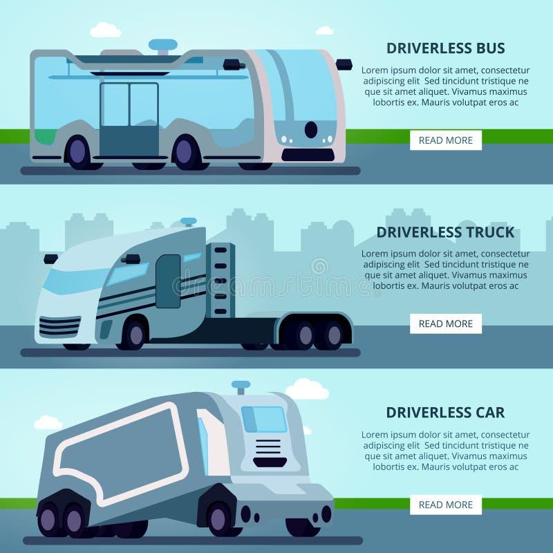 Autonome Driverless-Voertuigenbanners vector illustratie